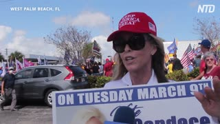 Trump Surprises Supporters at Presidents Day Celebration  NTD